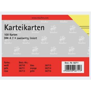 Karteikarten A7/100 gelb liniert - 56711