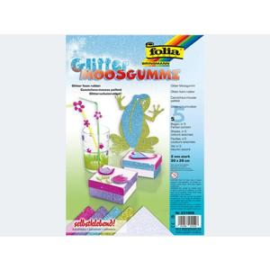 Glittermoosgummi 20x29 selbstklebend 5f Sort 1 - 231909