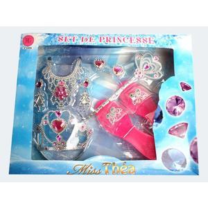 Schmuckset Prinzessin 9 Teile 2-fach blau/rot - 33050