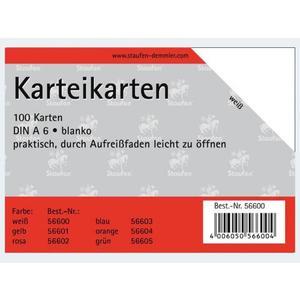 Karteikarten A6/100 weiss blanco - 56600