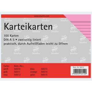 Karteikarten A5/100 rosa liniert - 56512