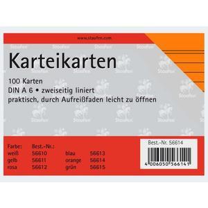 Karteikarten A6/100 orange liniert - 56614