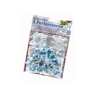 Perlensterne Set 340tlg blau/silber/perlweiss - 12530