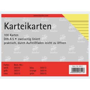 Karteikarten A5/100 gelb liniert - 56511