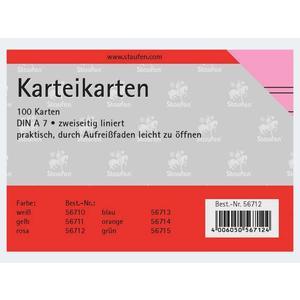 Karteikarten A7/100 rosa liniert - 56712