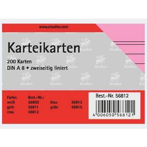 Karteikarten A8/200 rosa liniert - 56812