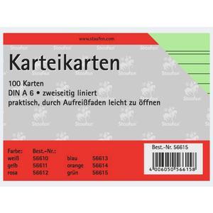 Karteikarten A6/100 grün liniert - 56615