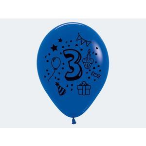 """7 Luftballon """"3"""" bunt 30cm - 12413"""