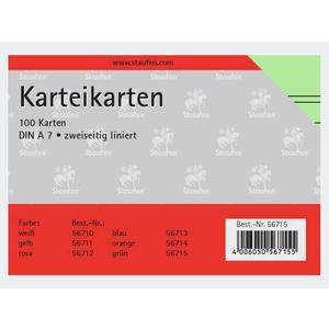 Karteikarten A7/100 grün liniert - 56715