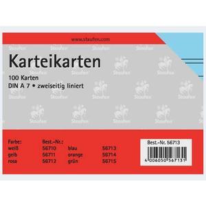 Karteikarten A7/100 blau liniert - 56713
