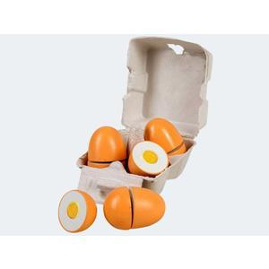 4 Eier mit Eigelb Holz in Pappkarton - 45044