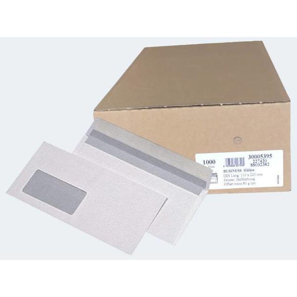 1000 Briefhüllen DIN Lang weiss 80g hk m Fenster - 227420