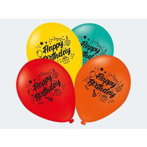 7 Luftballon Happy Birthday bunt 30cm - 12450