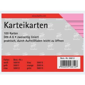 Karteikarten A6/100 rosa liniert - 56612