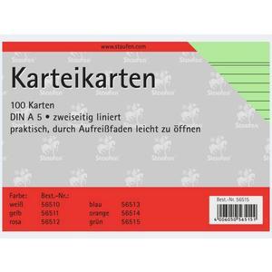 Karteikarten A5/100 grün liniert - 56515