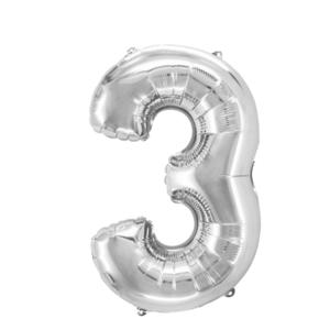 "Folienballon ""Zahl 3"", silber, ca. 80cm, 1 Stk.Riesige Folienballon Zahl Geburtstagsdeko, Deko Geburtstag Folienluftballons Birthday Helium Zahlenballon Luftballon Geburtstag"
