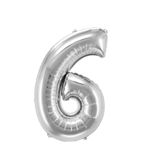 "Folienballon ""Zahl 6"", silber, ca. 82cm, 1 Stk.Riesige Folienballon Zahl Geburtstagsdeko, Deko Geburtstag Folienluftballons Birthday Helium Zahlenballon Luftballon Geburtstag"