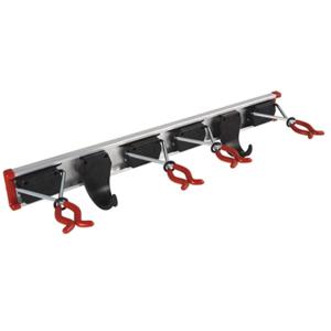 BRUNS Geräte-Halter, Universal-Halter, 4 x Gerätehalter + Führungs-Schiene 50cm+ 2x Gerätehaken (Für Stieldurchmesser 1,5-5cm)