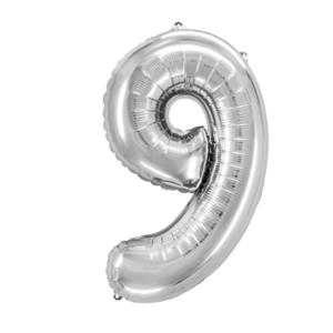 "Folienballon ""Zahl 9"", silber, ca. 76cm, 1 Stk.Riesige Folienballon Zahl Geburtstagsdeko, Deko Geburtstag Folienluftballons Birthday Helium Zahlenballon Luftballon Geburtstag"
