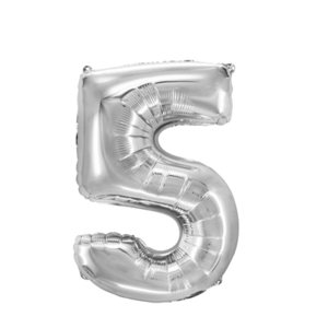 "Folienballon ""Zahl 5"", silber, ca. 84cm, 1 Stk.Riesige Folienballon Zahl Geburtstagsdeko, Deko Geburtstag Folienluftballons Birthday Helium Zahlenballon Luftballon Geburtstag"