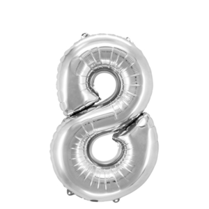 "Folienballon ""Zahl 8"", silber, ca. 81cm, 1 Stk.Riesige Folienballon Zahl Geburtstagsdeko, Deko Geburtstag Folienluftballons Birthday Helium Zahlenballon Luftballon Geburtstag"