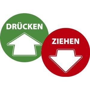 """Aufkleber-Set """"Drücken & Ziehen"""" - 70cm - zwei Aufkleber rot/grün selbstklebend"""
