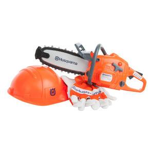 Spielzeug-Kettensäge mit Helm + Handschuhe