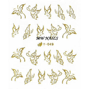 Nail Sticker Schmetterlinge gold Y-049