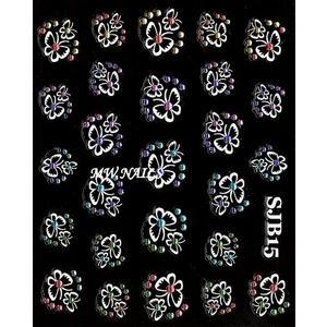 Nail Sticker Schmetterlinge mit Strass SJB15 weiß