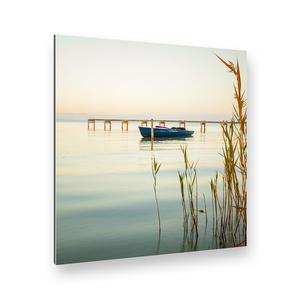 Boot im Ruhigen Wasser Alu-Verbund Art Print (40 x 40 cm)