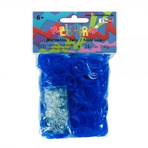 (80) Rainbow Loom® Gummibänder Marineblau Jelly
