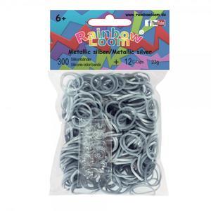 (55) Rainbow Loom® Silikonbänder Metallic Silber