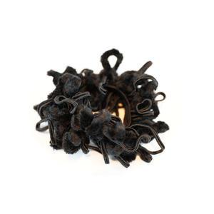 Haargummi mit Chenille + Baumwollverzierung - schwarz