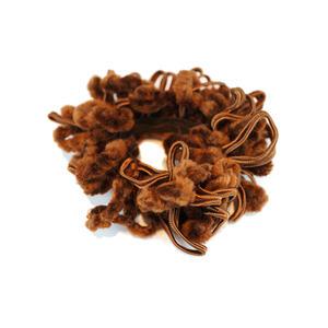 Haargummi mit Chenille + Baumwollverzierung - braun