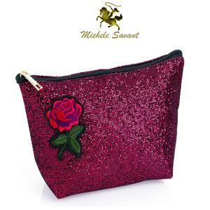 MICHELE SAVANT Glitter-Effekt Kosmetiktasche mit aufgenähter gestickter Rose, 25x13x7cm, schwarzer Zipp, Innenfutter schwarz. Für Dich von SUNDAYSHOP
