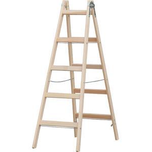 Holzleiter Doppelleiter Mod. HZ - Sprossenanzahl: 2 x 5, Länge: 1,70 m