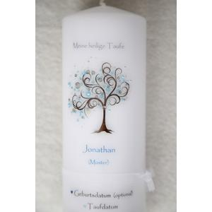 Taufkerze mit Lebensbaum - Junge, inkl. bis zu 150 Zeichen Wunschtext