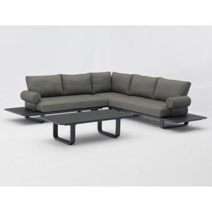 Garino Loungeset Slim Aluminium anthrazit inkl. Sitz und Rückenkissen