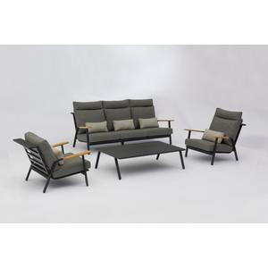 Garino Lounge Set Dandy mit Teakholzarmlehne inkl. Sitz und Rückenkissen