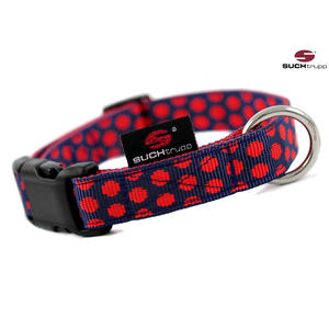 SUCHtrupp Hundehalsband MEDIUM, Klick Halsband, DOTS darkblue-red