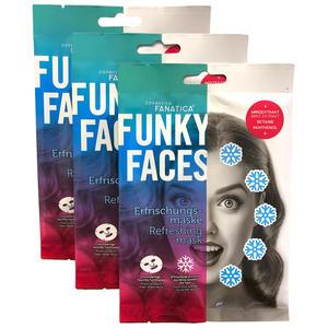 Tuchmaske Gesichtsmaske, Funky Faces Erfrischungspflege fürs Gesicht 3 Stück