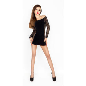 Kleid mit Netzärmeln in schwarz, Einheitsgröße