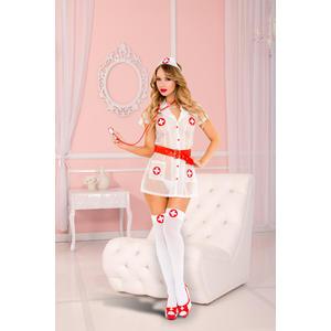 Krankenschwestern-Outfit, weiß/rot von Music Legs, Einheitsgröße