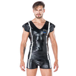 Herren Polizei Kostüm im Wet-Look 2-teilig, Größe: S/M