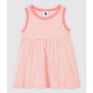 Ärmelloses, gestreiftes Baby-Kleid aus Rippstrick Rosa