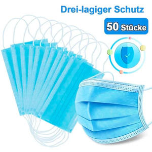 50 Stück Mund- u. Nasenschutzmaske Sofort Lieferbar € 14.40