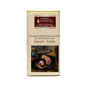 Handgeschöpfte Edelschokolade mit Maroni-Trüffelfüllung, 70g, Obstgut Hoanzl