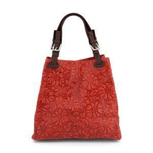 Geprägt florale Leder Handtasche - rot