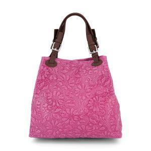 Geprägt florale Leder Handtasche - pink