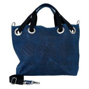BIG SIZE Shopper in Leder - indigo blau